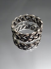 Load image into Gallery viewer, Woven Silver Band, Men's Sterling Silver Ring, Wedding Band, 925 Stamped