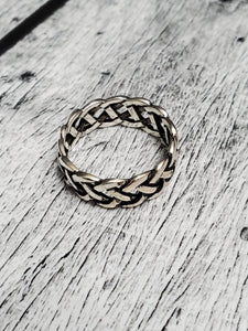 Woven Silver Band, Men's Sterling Silver Ring, Wedding Band, 925 Stamped