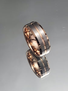 Rose PVD Gold Tungsten 8mm Band