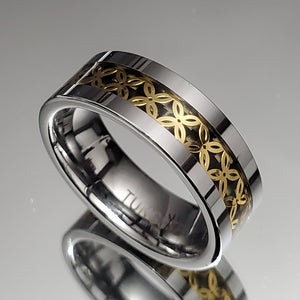 Silver Gold Tungsten 8mm Men's Ring