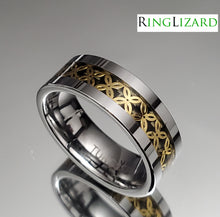 Load image into Gallery viewer, Silver Gold Tungsten 8mm Men's Ring