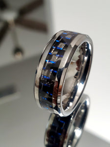 Contemporary Tungsten 8mm Ring With Dark Blue Carbon Fiber Inlay