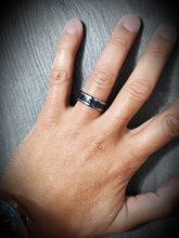 Load image into Gallery viewer, Contemporary Tungsten 8mm Ring With Dark Blue Carbon Fiber Inlay