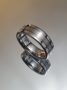 Offset Grooves Band Polished Edges and Satin Finish Center Tungsten Carbide Ring - 8mm Wide