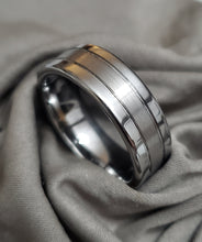 Load image into Gallery viewer, Offset Grooves Band Polished Edges and Satin Finish Center Tungsten Carbide Ring - 8mm Wide