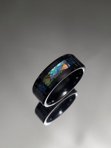 Tungsten Ring With Paua Shell 8mm