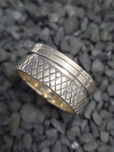 Load image into Gallery viewer, Gritted Spinner Sterling Silver 10mm Band