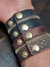 Load image into Gallery viewer, Leather Zipper Bracelet