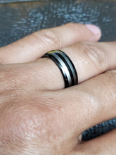 Load image into Gallery viewer, Two Stripe Tungsten Black Silver Band