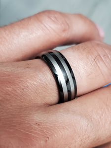 Two Stripe Tungsten Black Silver Band