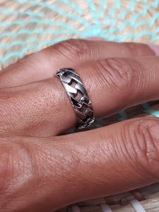 Cuban Link Ring, Stainless Steel 316L, Wedding Band, Chain Ring