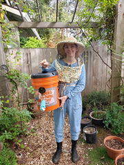 Female beekeeper wearing a bee veil holding a swarm catch.