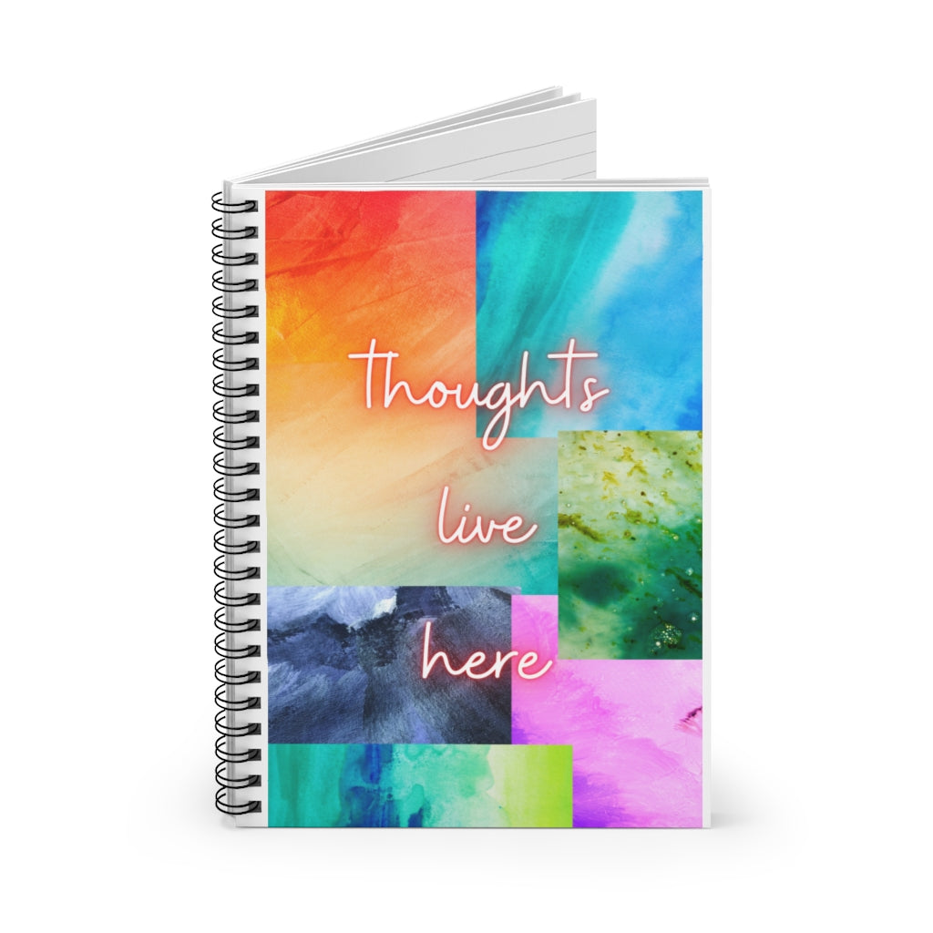 Thoughts Live Here Spiral Notebook - Ruled Line