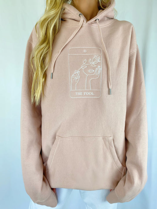 THE FOOL TAROT CARD PINK HOODIE