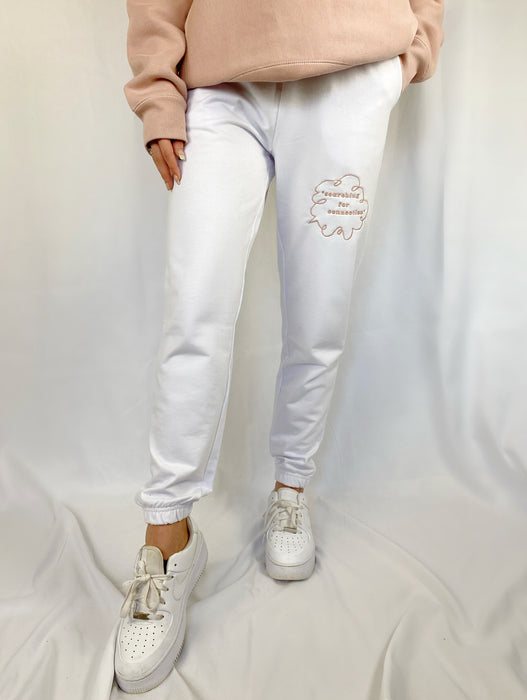 'SEARCHING FOR CONNECTION' WHITE SWEATPANTS