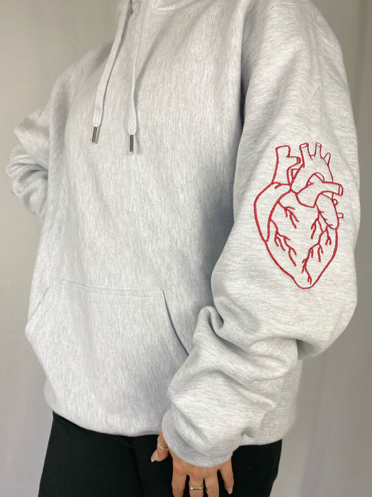 HEART ON YOUR SLEEVE GREY HOODIE