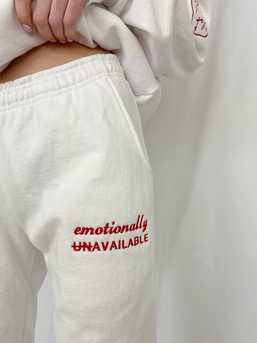 EMOTIONALLY AVAILABLE WHITE SWEATPANTS