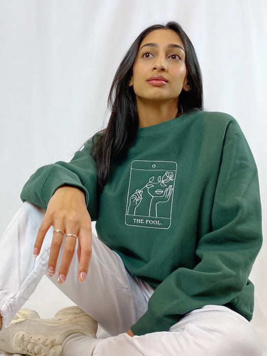 THE FOOL TAROT CARD GREEN CREWNECK