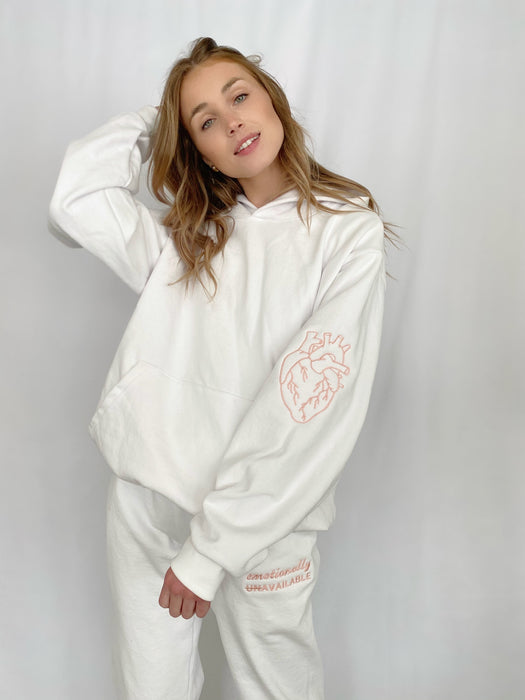 HEART ON YOUR SLEEVE WHITE HOODIE