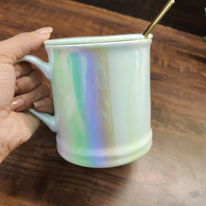 Premium Holographic Mug with Lid and Golden Spoon- clearance sale