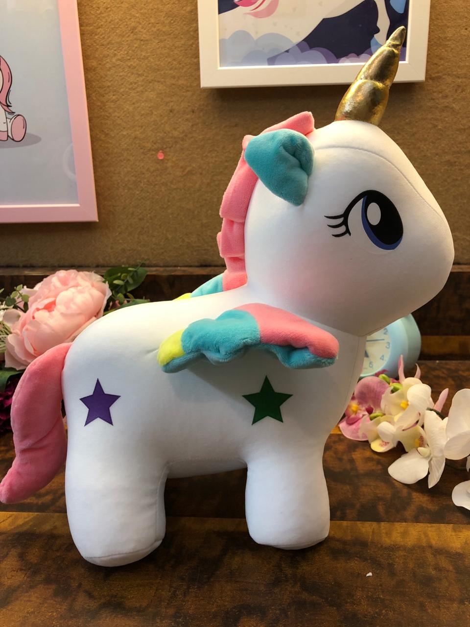 Unicorn Soft toy with fur wings : big size