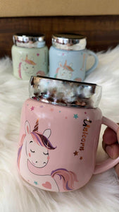 Unicorn Gold Foil Mug wirh Leak Proof Screw Mirror Lid