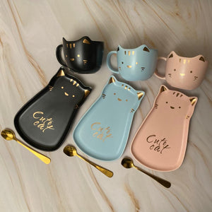 Cute Cat Ceramic Cup + Plate & Spoon