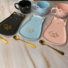 Load image into Gallery viewer, Cute Cat Ceramic Cup + Plate & Spoon