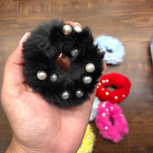 Load image into Gallery viewer, Pearls on fur hair tie