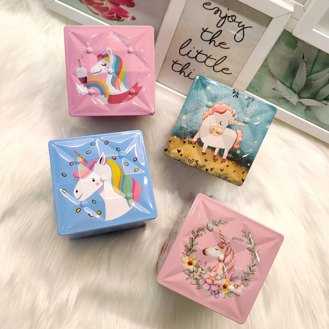 Unicorn Cubic Tin Box