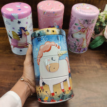 Load image into Gallery viewer, 3 tier unicorn tin box