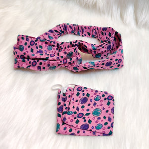 Headband and Mask set - pink shades