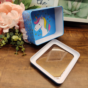 Unicorn Multipurpose Tin Box with transparent Lid