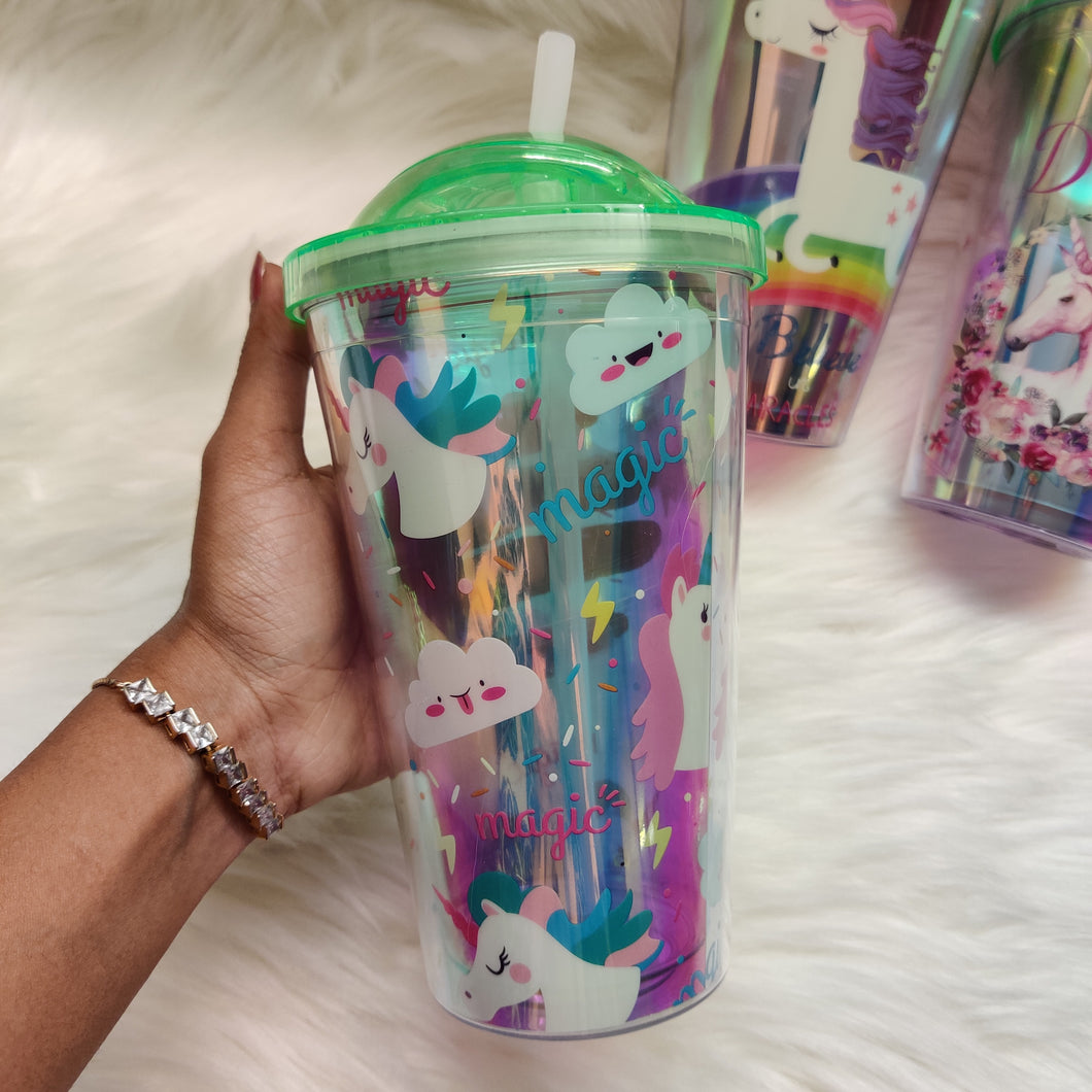 Unicorn Holographic Folding Sipper Tumbler
