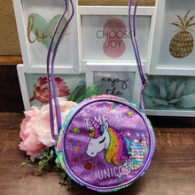 Load image into Gallery viewer, Unicorn Sequin Round Sling Bag with Beads