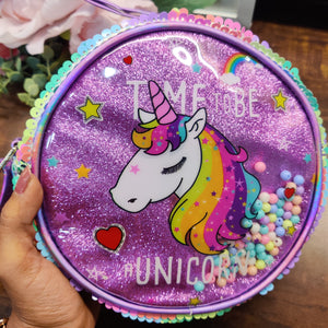 Unicorn Sequin Round Sling Bag with Beads