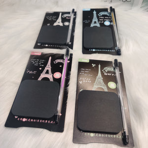Black Eiffel Sticky Notes with Glitter Pen