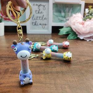 Giraffe with Spring Neck Keycharm with hook