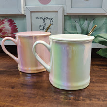 Load image into Gallery viewer, Premium Holographic Mug with Lid and Golden Spoon- clearance sale