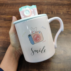 Camera Pastel Vintage Camera Mug with Lid- clearance sale