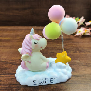 Dreamy unicorn with balloons collectible tablepiece- clearance sale