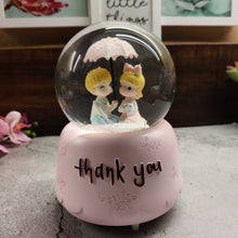 Load image into Gallery viewer, Snow & Music Pink Couple Thank you Snow Globe