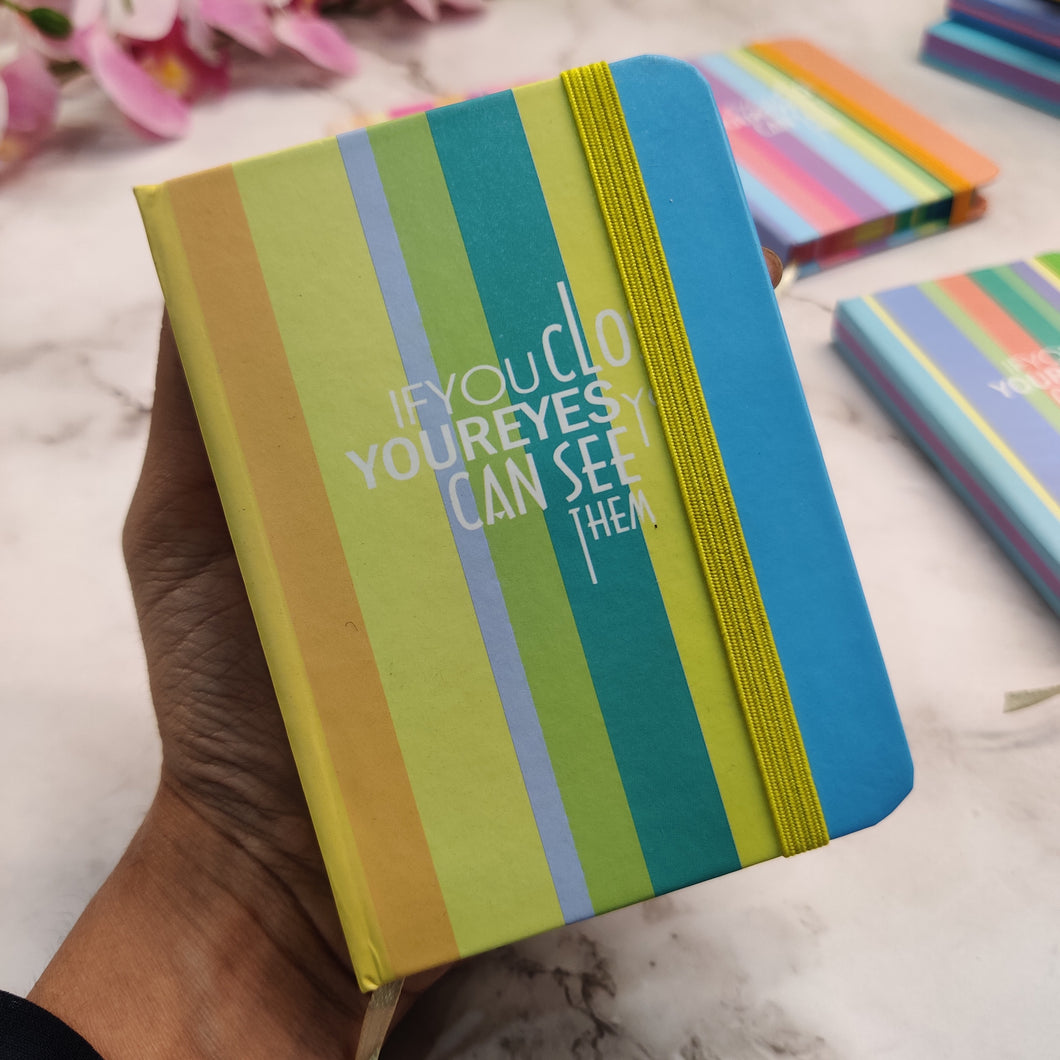 Pastel Quotes Striped Hardbound Pocket Diary- clearance sale