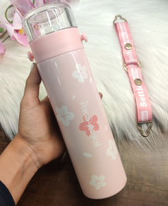 Dream Magical Pink Floral Flask with strap
