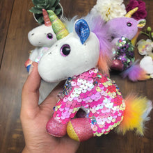 Load image into Gallery viewer, Unicorn Sequin Soft Toy With Key Ring