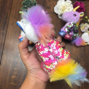 Unicorn Sequin Soft Toy With Key Ring