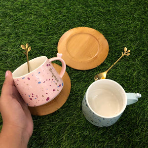 Be Beautiful Cup With Golden Stirrer And Wooden Saucer