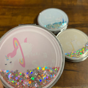 Unicorn Liquid Glitter Mirror - Round