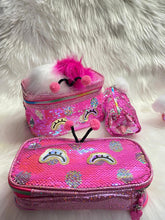 Load image into Gallery viewer, Premium Sequin Vanity Pouch Set - Signature Pink
