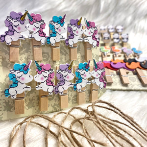 Wooden clips with rope - pack of 10 Unicorn